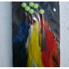 Coloured feather lures for mackerel - 3 Hook